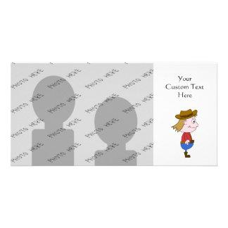 Cowboy illustration. personalized photo card
