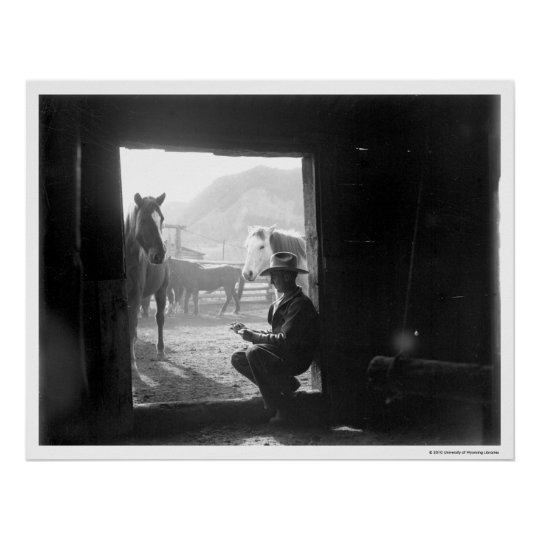 Cowboy in a doorway with horses poster