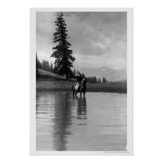 Cowboy in a pond poster