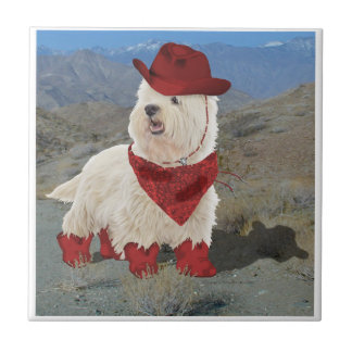 Cowboy in Boots Ceramic Tile