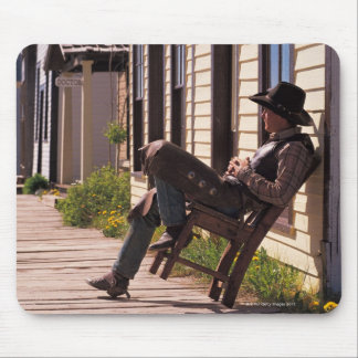 Cowboy in chair on boardwalk in South Park City, Mouse Pad