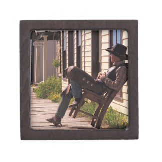 Cowboy in chair on boardwalk in South Park City, Premium Keepsake Boxes