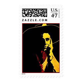 Cowboy In Night Shadows Deep In Thought Stamp