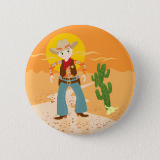 Cowboy kid birthday party button