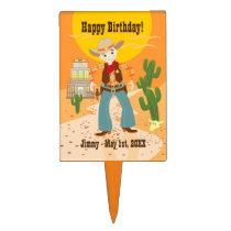 Cowboy kid birthday party cake topper