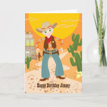 Cowboy kid birthday party card