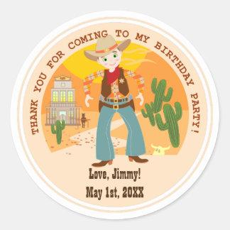 Cowboy kid birthday party classic round sticker