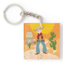 Cowboy kid birthday party keychain