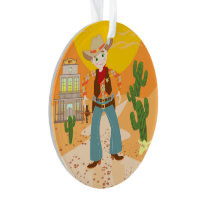Cowboy kid birthday party ornament