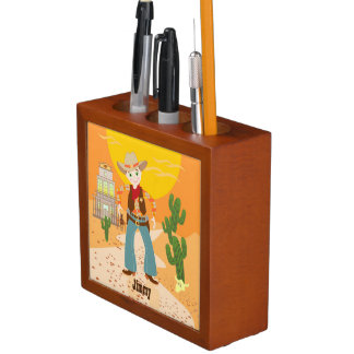 Cowboy kid birthday party pencil holder