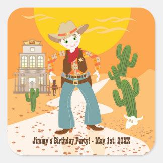 Cowboy kid birthday party square sticker
