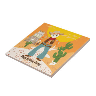 Cowboy kid birthday party tile