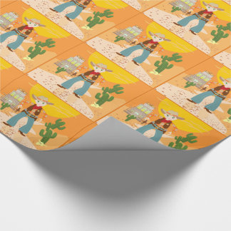 Cowboy kid birthday party wrapping paper