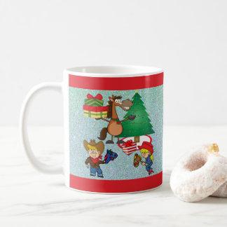 Cowboy Kids And Horse Cartoon Holiday Mug/Cup Coffee Mug