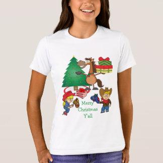 Cowboy Kids And Horse Cartoon Holiday T-Shirt