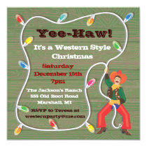Cowboy Lasso Christmas Party Invitations