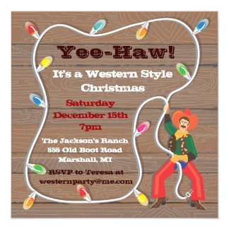Cowboy Lasso Christmas Party Invitations