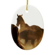 cowboy lasso horse ceramic ornament