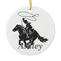 Cowboy lasso  silhouette ceramic ornament