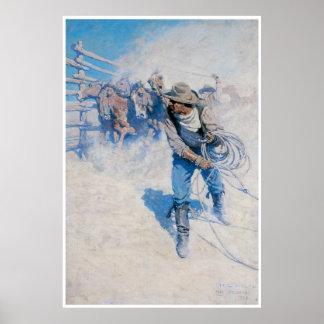 Cowboy lassoing a horse 1904 print
