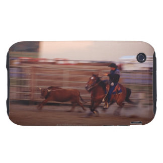 Cowboy lassoing bull tough iPhone 3 case
