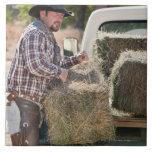 Cowboy lifting bales of hay large square tile