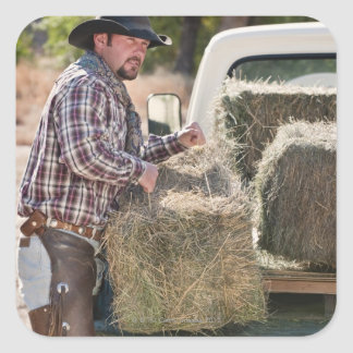 Cowboy lifting bales of hay square sticker