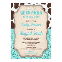 Cowboy little buckaroo teal brown boy baby shower invitation