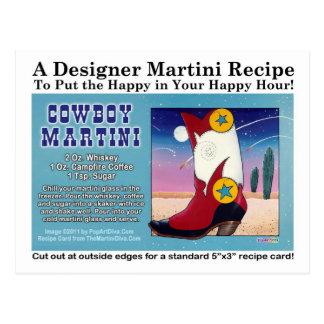 Cowboy Martini Recipe Postcard