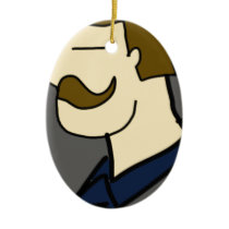 cowboy men cartoon ceramic ornament