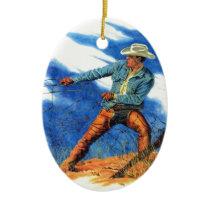 cowboy mending a fence ceramic ornament