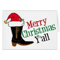 Cowboy Merry Christmas Yall Card