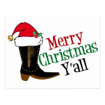 Cowboy Merry Christmas Yall Postcard
