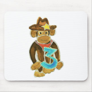 Cowboy Monkey Holding Three Mouse Pad