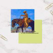 Cowboy Mounted Square Business Card