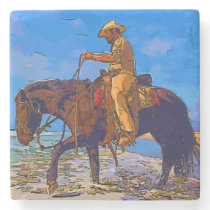Cowboy Mounted Stone Coaster