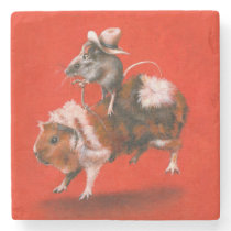Cowboy Mouse Riding Guinea Pig Stone Coaster