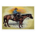 Cowboy n Sunset Postcard