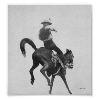 Cowboy Ned Coy Riding Bronco Posters