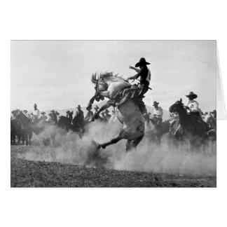 Cowboy on a bucking bronco card