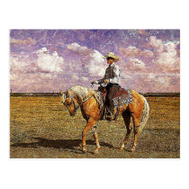 Cowboy on a palomino horse postcard
