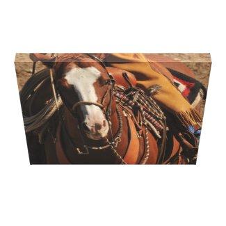 Cowboy on Blaze Faced Sorrel Horse wrappedcanvas