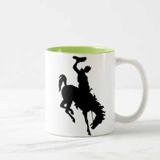 Cowboy on Bronco / Bronc; Cool Two-Tone Coffee Mug