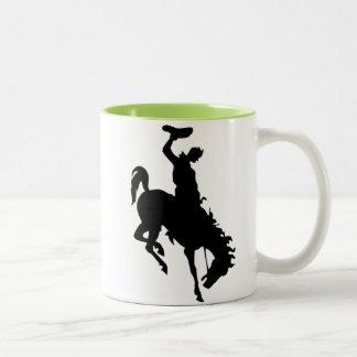 Cowboy on Bronco / Bronc; Cool Two-Tone Coffee Mug