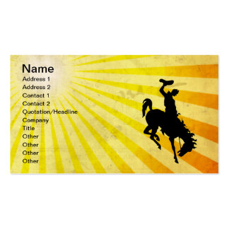 Cowboy on Bucking Bronc; yellow Business Card