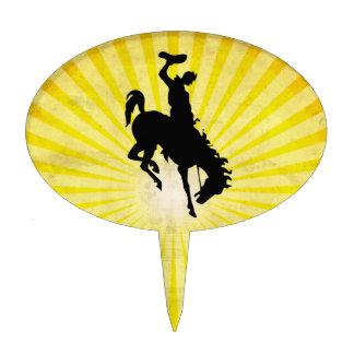 Cowboy on Bucking Bronc; yellow Oval Cake Picks