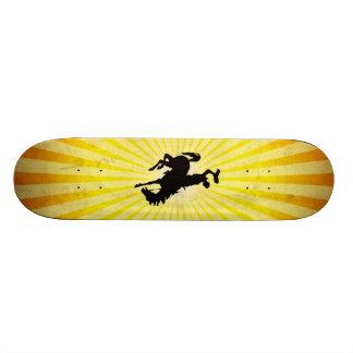 Cowboy on Bucking Bronc; yellow Custom Skate Board