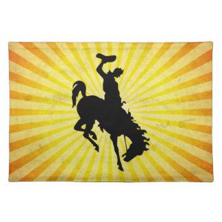Cowboy on Bucking Bronc; yellow Place Mats