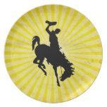 Cowboy on Bucking Bronc; yellow Plate