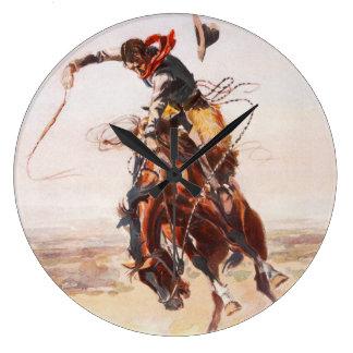 Cowboy on Bucking Bronco Large Clock